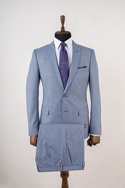 Sarar Interview Tedrick Erkek Mavi Slim Fit Takım Elbise