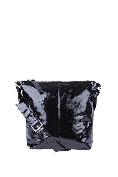Jacquline Kadın Siyah Rugan Çapraz Askılı Çanta Im305-2