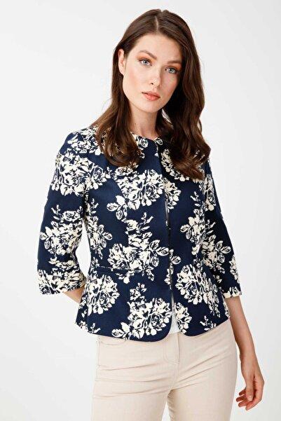 Ekol Kadın Lacivert Çiçek Desenli Ceket