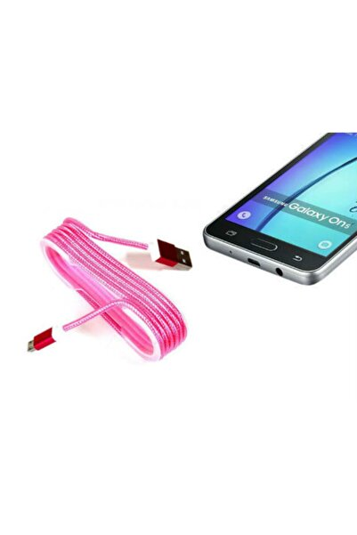 rennway Pembe Android Örgü Şeklinde Çelik Şarj Data Kablosu