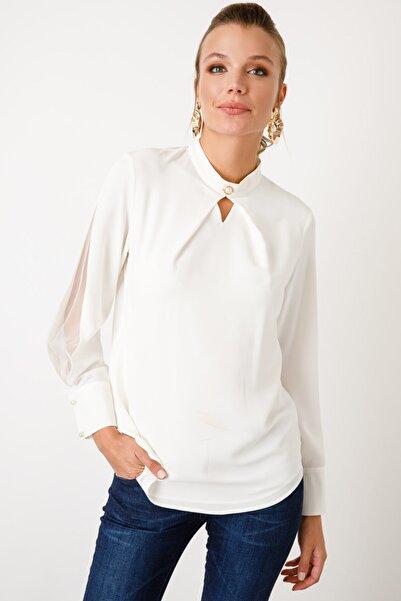 Ekol Kadın  Dik Yaka Inci Düğmeli Bluz