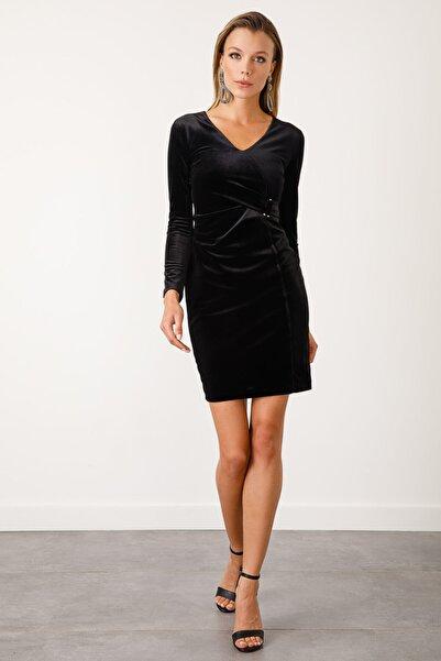 Ekol Kadın Siyah Kruvaze Kadife Elbise