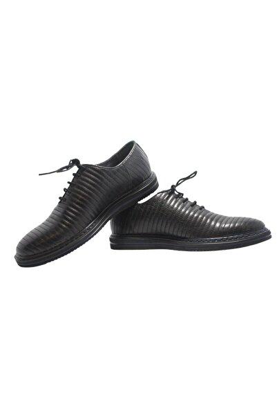 Elite Erkek Siyah Dikişli Deri Ayakkabı