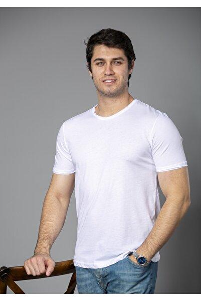 BAYEFENDİ Erkek Beyaz  Pamuk Bisiklet Yaka  T-shirt