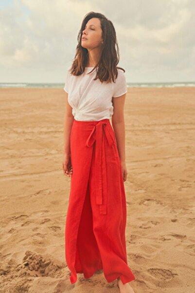 adL Kadın Kırmızı Bol Paça Pantolon