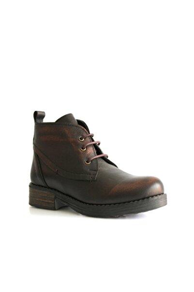 Beta Shoes Bot Hakiki Deri Kadın Bronz