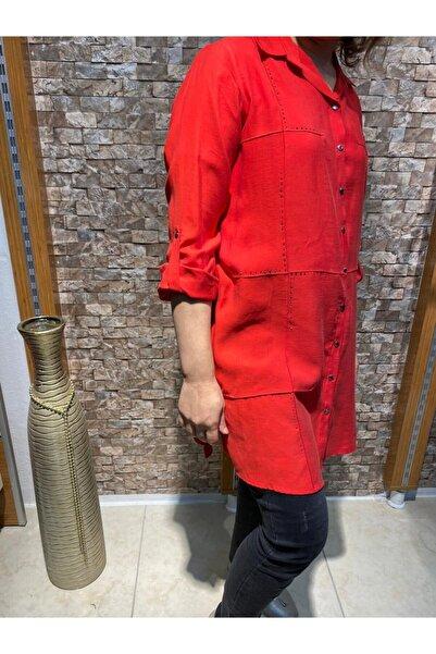 Femina Kadın Kırmızı Büyük Beden Gömlek