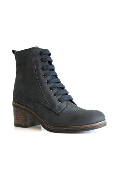 Beta Shoes Hakiki Deri Kadın Bot Nubuk Lacivert