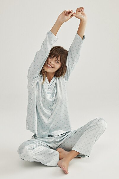 Penti Kadın Renkli Saten Hearts Pijama Takımı