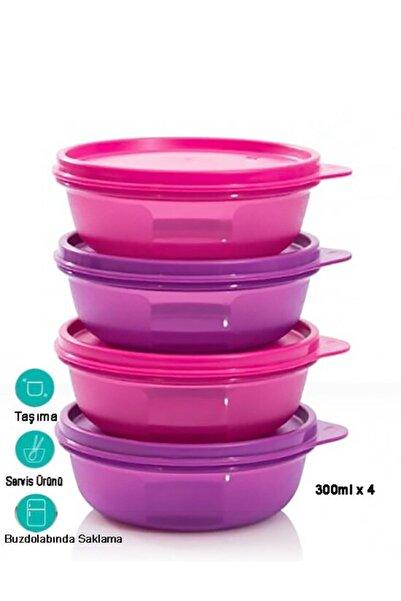 Tupperware Şeker Kaplar 4 Lü Pembe Mor Saklama Kabı 4x300 Ml