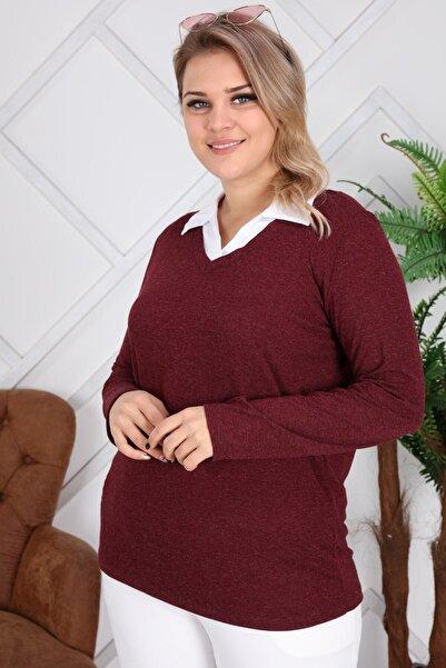 RMG Kadın Bordo Gömlek Yaka Büyük Beden Bluz