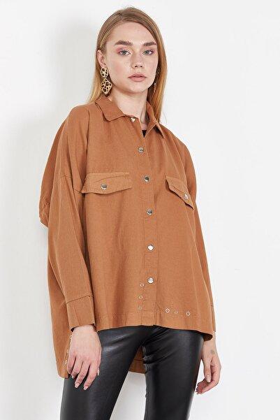 Lafaba Kadın Taba Gabardin Kısa Gömlek