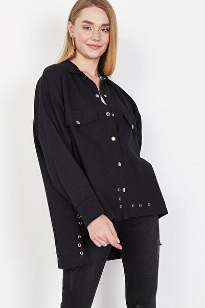 Lafaba Kadın Siyah Gabardin Kısa Gömlek