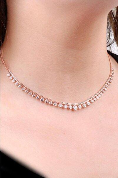 Sümer Telkari Kadın Choker Rose Gümüş Sıra Taşlı Tasarım Kolye 6470