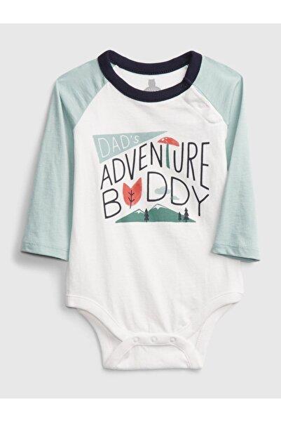 GAP Baby Erkek Bebek Beyaz Renk Bloklu Uzun Kollu Body