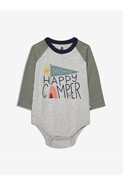 GAP Baby Erkek Bebek Gri Renk Bloklu Uzun Kollu Body