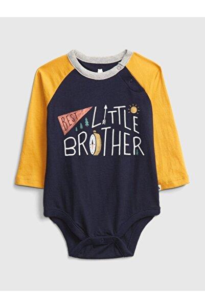 GAP Baby Erkek Bebek Lacivert Renk Bloklu Uzun Kollu Body