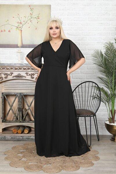 VOLİNAY TEKSTİL Kadın Siyah Büyük Beden Degaje Yaka Uzun Şifon Abiye Elbise