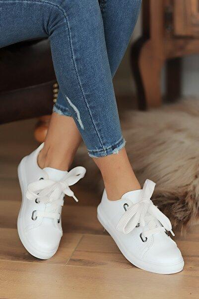 Pembe Potin Beyaz Kadın Ayakkabı