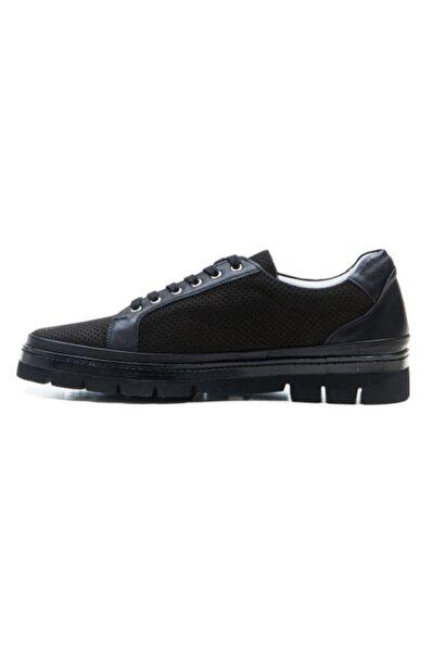 Ferre Erkek Siyah Hakiki Deri Sneaker Ayakkabı