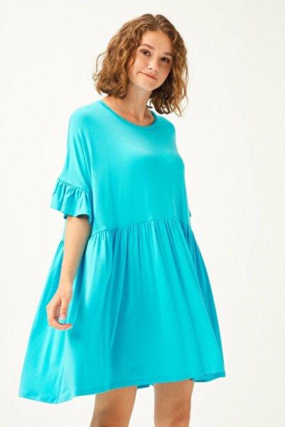 adL Kadın  Turkuaz Kolları Volanlı Elbise