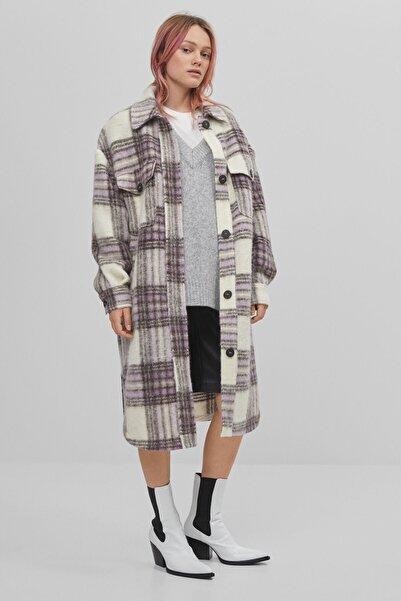 Bershka Kadın Mor Kareli Oversize İnce Ceket