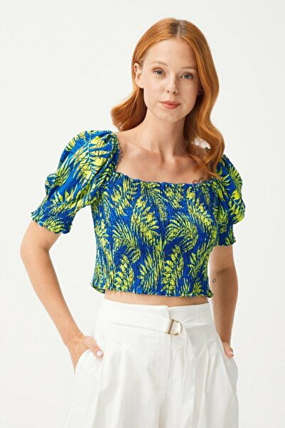 adL Kadın Yeşil Balon Kollu Gipeli Crop Bluz
