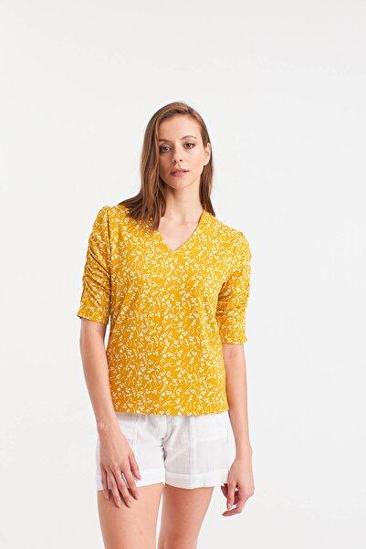 Hanna's by Hanna Darsa Kadın Sarı V Yakalı Kolları Yandan Büzgülü Bluz