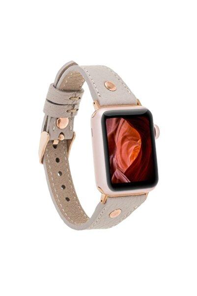 Bouletta Apple Watch Deri Kordon 38-40mm Slim Rosegold Trok Erc3 Bej