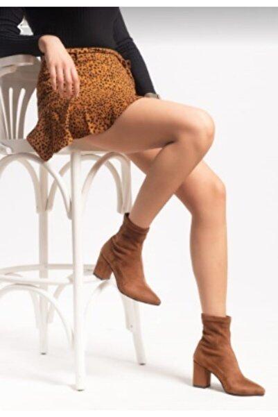 İNCEAYAKKABI Topuklu Çorap Bot Taba Süet