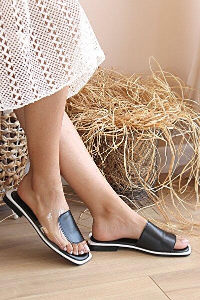 Pembe Potin Kadın Siyah Beyaz Sandalet