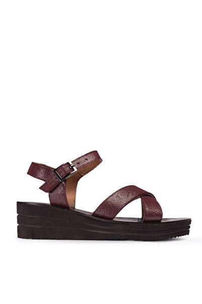 Deery Kadın Bordo Hakiki Deri Sandalet
