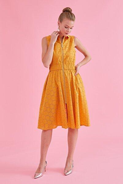 Journey Kadın Sarı Polo Yaka Elbise