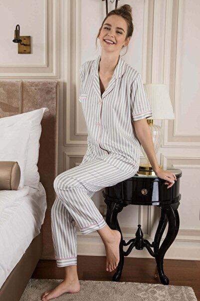 Lohusa Sepeti Kadın Beyaz Grey Line Lite Kadın Önden Düğmeli Pijama Takımı 799
