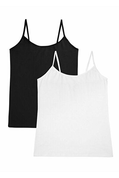 SUWEN Kadın Siyah Beyaz Soft Touch Cotton İnce Askılı Atlet 2 'li