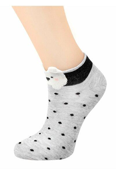 SUWEN Kadın Gri Teddy Patik Çorap