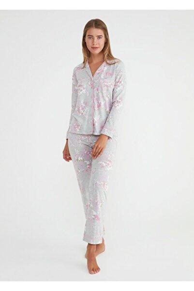 SUWEN Kadın Gri Baskılı Mines Maskulen Pijama Takımı
