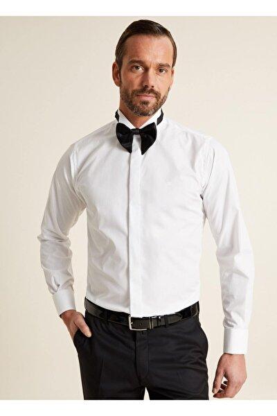 Bisse Erkek Beyaz Regular Fit Ata Yaka Klasik Gömlek