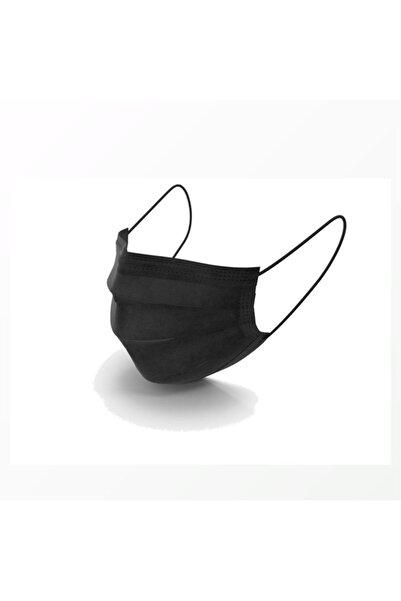 8M Türkiye Eczacılar Deposu Siyah 3 Kat Full Ultrasonik Cerrahi Burun Telli Maske 50li