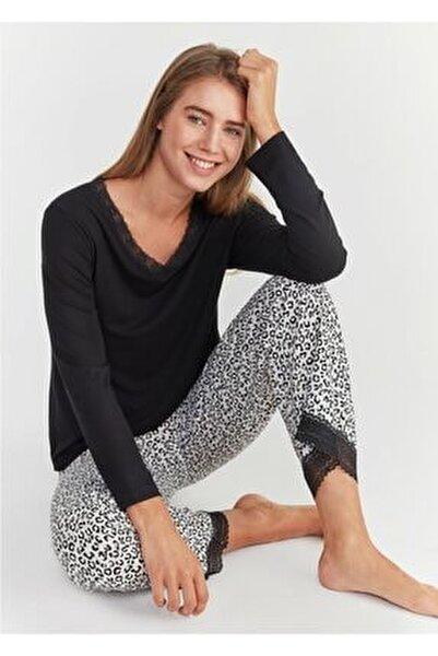 Kadın Leopar Baskılı Leo Pijama Takımı