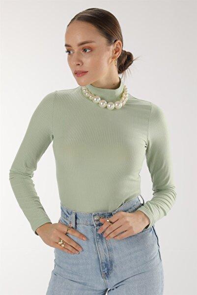 Oblavion Kadın Mint Yarım Balıkçı Kaşkorse Bluz