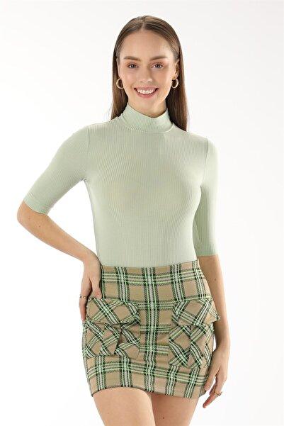 Oblavion Kadın Mint Yarım Balıkçı Kaşkorse Kısa Kol Bluz