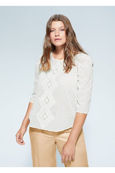 Violeta by MANGO Kadın Beyaz Bluz