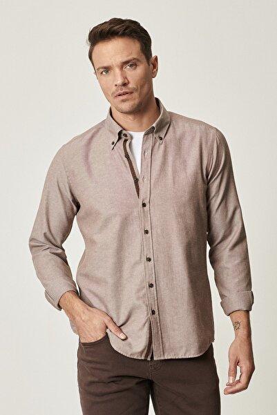 ALTINYILDIZ CLASSICS Tailored Slim Fit Dar Kesim Düğmeli Yaka Oxford Gömlek