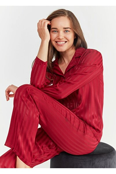 SUWEN Kadın Bordo Diana Maskulen Pijama Takımı