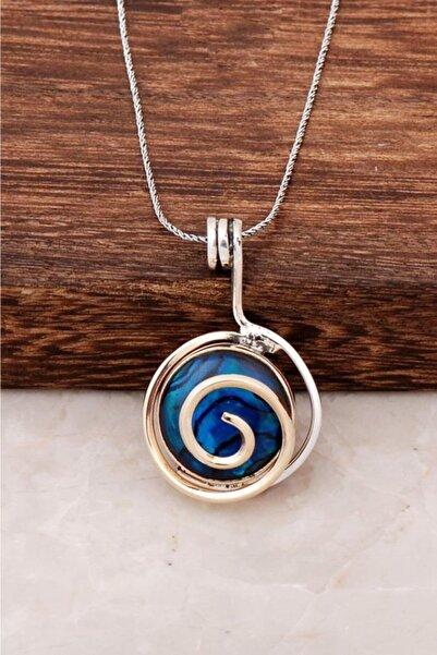 Sümer Telkari Kadın Okyanus Sedefi Taşlı Tasarım Gümüş Kolye 6447