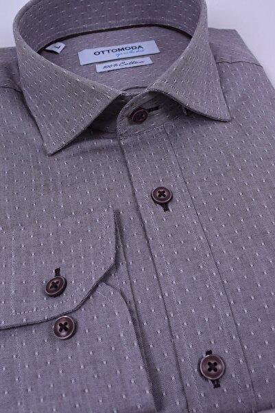 Ottomoda Erkek Kahverengi Uzun Kollu Desenli Gömlek Oxford