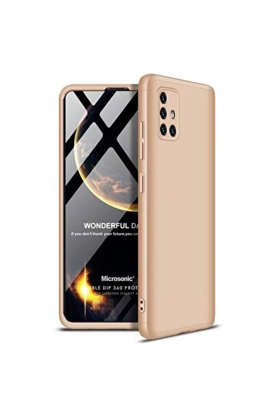 Microsonic Microsonic Galaxy A71 Kılıf Double Dip 360 Protective Gold