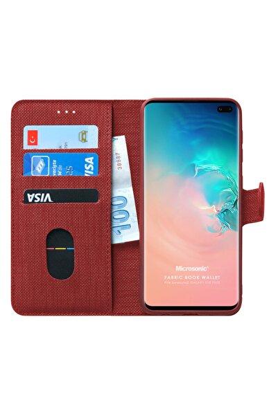 Microsonic Microsonic Galaxy S10 Plus Kılıf Fabric Book Wallet Kırmızı
