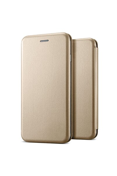 Microsonic Microsonic Galaxy A11 Kılıf Ultra Slim Leather Design Flip Cover Gold